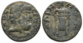 Lydia, Magnesia ad Sipylum, pseudo-autonomous issue, ca. 3rd cent. AD, AE Bearded head of Sipylos right Asklepios standing frontally, head turned left...
