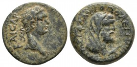 Cilicia, Flaviopolis, Domitianus, year 17 = 89-90 AD, AE Laureate head of Domitianus right Veiled bust of Kronos right, harpa in front RPC II 1760 16....