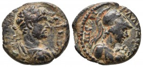 Galatia, Iconium, Hadrian 117-138 AD, AE Laureate, draped and cuirassed bust of Hadrianus right Helmeted bust of Athena with aegis right RPC III 2824 ...