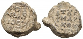 Byzantine lead seal, Konon, tourmarches, early eight century AD +KO/NW/NOC Inscription of three lines, Cypress tree to right +TOVPMAPXOV Cypress tree ...