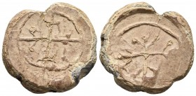Byzantine lead seal Illegible monograms on both sides 25.2mm / 14.2g