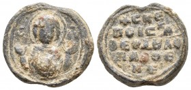 Byzantine lead seal, anonymous, c. XII/XIII Τhe Virgin orans with a medallion of Christ before her. Religous incription of five lines: +CKE/ ΠΟΙC…/ OE...