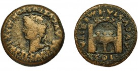 HISPANIA ANTIGUA. EMERITA. As. Tiberio. R/ Recinto amurallado; AVGVSTA EMERITA/ COL. AE 11,67 g. 26,9 mm. I-1056. RPC-42. APRH-42. BC+.