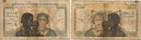 Country : FRENCH WEST AFRICA (1895-1958)  Face Value : 1000 Francs   Date : 28 avril 1945  Period/Province/Bank : Banque de l'Afrique Occidentale  Cat...