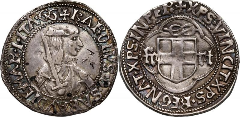 Italy, Carlo I 1482-1490, Testone Silver 9,46 g. Small scratches.  Srebro 9,46 ...