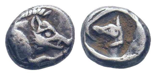 DYNASTS of LYCIA. Uncertain.450-400 BC.AR Obol.Forepart of boar / Head and neck ...