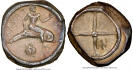 CALABRIA. Tarentum. Ca. 480-450 BC. AR didrachm (17mm, 7.81 gm). NGC XF 4/5 - 3/5. TAPAS (retrograde), Taras astride dolphin right, left hand outstret...