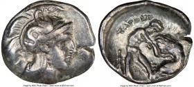 CALABRIA. Tarentum. Ca. 380-280 BC. AR diobol (13mm, 7h). NGC Choice VF. Ca. 325-280 BC. Head of Athena right, wearing crested Attic helmet decorated ...