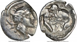 CALABRIA. Tarentum. Ca. 380-280 BC. AR diobol (13mm, 6h). NGC Choice VF. Ca. 325-280 BC. Head of Athena right, wearing laureate crested Attic helmet d...