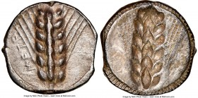 LUCANIA. Metapontum. Ca. 470-440 BC. AR stater (19mm, 12h). NGC XF, brushed, edge smoothing. META, barley ear with six grains; guilloche border on rai...