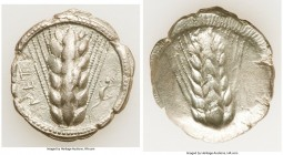 LUCANIA. Metapontum. Ca. 470-440 BC. AR stater (24mm, 7.00 gm, 12h). VF. MET, barley ear of seven grains; lizard to right / Incuse of barley ear. Noe ...