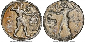BRUTTIUM. Caulonia. Late 6th century BC. AR stater or nomos (29mm, 6.83 gm, 12h). NGC Choice VF 4/5 - 2/5, light scratches. KAVΛ (retrograde), full-le...