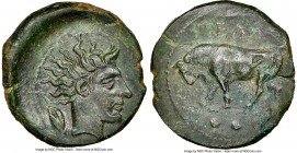 SICILY. Gela. Ca. 420-405 BC. AE tetras (17mm, 3.26 gm, 1h). NGC AU 5/5 - 2/5, smoothing. ΓEΛAΣ, bull standing left, head lowered; grain ear above; ••...