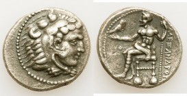 MACEDONIAN KINGDOM. Alexander III the Great (336-323 BC). AR tetradrachm (28mm, 16.82 gm, 1h). VF, porosity. Early posthumous issue of Tyre, dated Reg...