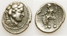 MACEDONIAN KINGDOM. Alexander III the Great (336-323 BC). AR tetradrachm (28mm, 16.82 gm, 10h). Choice Fine, porosity. Early posthumous issue of Tyre,...