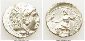 MACEDONIAN KINGDOM. Alexander III the Great (336-323 BC). AR tetradrachm (26mm, 17.11 gm, 11h). XF, graffiti. Early posthumous issue of Sidon, dated C...