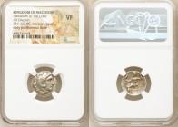 MACEDONIAN KINGDOM. Alexander III the Great (336-323 BC). AR drachm (17mm, 11h). NGC VF. Early posthumous issue of Colophon, ca. 323-319 BC. Head of H...
