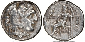 MACEDONIAN KINGDOM. Philip III Arrhidaeus (323-317 BC). AR drachm (17mm, 12h). NGC Choice VF, scuffs. Colophon, ca. 323-319 BC. Head of Heracles right...