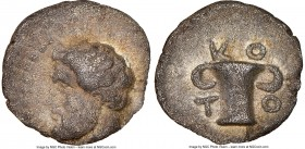 THRACIAN KINGDOM. Cotys (ca. 383-359 BC). AR obol (11mm, 2h). NGC VF. Bare head of bearded man left / K-O / T-O, skyphos (cotyle). Traité IV 1306.   H...