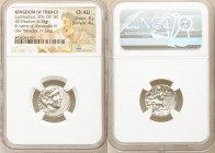 THRACIAN KINGDOM. Lysimachus (305-281 BC). AR drachm (18mm, 4.35 gm, 12h). NGC Choice AU 4/5 - 4/5. Posthumous Alexander type issue of Abydus, ca. 301...