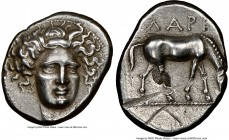THESSALY. Larissa. Ca. 400-365 BC. AR drachm (19mm, 5.78 gm, 10h). NGC AU 4/5 - 2/5, scuffs, brushed, flan flaw. Head of nymph Larissa facing slightly...