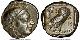 ATTICA. Athens. Ca. 455-440 BC. AR tetradrachm (24mm, 17.15 gm, 8h). NGC AU 4/5 - 4/5. Early transitional issue. Head of Athena right, wearing crested...