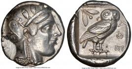 ATTICA. Athens. Ca. 455-440 BC. AR tetradrachm (24mm, 17.18 gm, 5h). NGC Choice XF 5/5 - 4/5. Early transitional issue. Head of Athena right, wearing ...