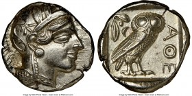 ATTICA. Athens. Ca. 440-404 BC. AR tetradrachm (23mm, 17.17 gm, 7h). NGC MS 5/5 - 4/5, brushed. Mid-mass coinage issue. Head of Athena right, wearing ...