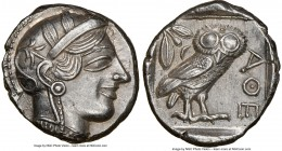 ATTICA. Athens. Ca. 440-404 BC. AR tetradrachm (25mm, 17.20 gm, 1h). NGC Choice AU 5/5 - 4/5. Mid-mass coinage issue. Head of Athena right, wearing cr...