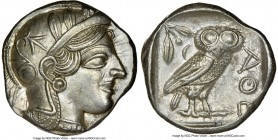 ATTICA. Athens. Ca. 440-404 BC. AR tetradrachm (24mm, 17.22 gm, 7h). NGC Choice AU 5/5 - 4/5. Mid-mass coinage issue. Head of Athena right, wearing cr...
