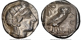 ATTICA. Athens. Ca. 440-404 BC. AR tetradrachm (25mm, 17.15 gm, 8h). NGC Choice AU 5/5 - 4/5. Mid-mass coinage issue. Head of Athena right, wearing cr...