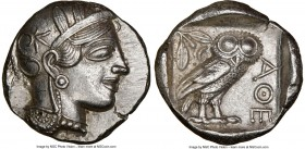 ATTICA. Athens. Ca. 440-404 BC. AR tetradrachm (25mm, 17.18 gm, 7h). NGC Choice AU 5/5 - 3/5. Mid-mass coinage issue. Head of Athena right, wearing cr...