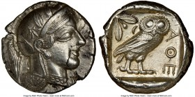 ATTICA. Athens. Ca. 440-404 BC. AR tetradrachm (26mm, 17.19 gm, 5h). NGC Choice AU 4/5 - 4/5, flan flaw. Mid-mass coinage issue. Head of Athena right,...