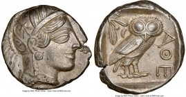 ATTICA. Athens. Ca. 440-404 BC. AR tetradrachm (25mm, 17.14 gm, 2h). NGC AU 5/5 - 4/5. Mid-mass coinage issue. Head of Athena right, wearing crested A...