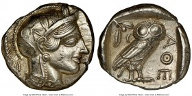 ATTICA. Athens. Ca. 440-404 BC. AR tetradrachm (25mm, 17.18 gm, 6h). NGC AU 5/5 - 4/5, brushed. Mid-mass coinage issue. Head of Athena right, wearing ...