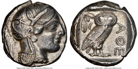 ATTICA. Athens. Ca. 440-404 BC. AR tetradrachm (24mm, 17.14 gm, 10h). NGC AU 5/5 - 3/5. Mid-mass coinage issue. Head of Athena right, wearing crested ...