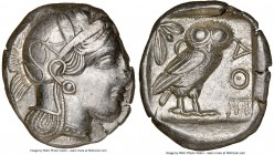 ATTICA. Athens. Ca. 440-404 BC. AR tetradrachm (25mm, 17.18 gm, 7h). NGC AU 3/5 - 4/5. Mid-mass coinage issue. Head of Athena right, wearing crested A...