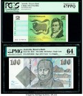 Australia Australia Reserve Bank 2; 100 Dollars ND (1976); ND (1990) Pick 43b2; 48c R86b; R612 Two Examples PCGS Superb Gem New 67 PPQ; PMG Choice Unc...