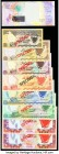 Bahrain Group Lot of 9 Examples Crisp Uncirculated. Red Specimen overprints are present on the 1978 Specimen set (8).  HID09801242017  © 2020 Heritage...