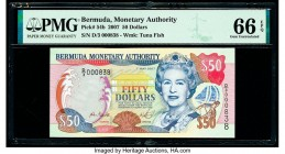 Bermuda Monetary Authority 50 Dollars 7.5.2007 Pick 54b PMG Gem Uncirculated 66 EPQ.   HID09801242017  © 2020 Heritage Auctions | All Rights Reserved