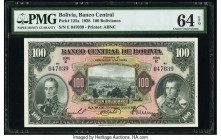 Bolivia Banco Central 100 Bolivianos 20.7.1928 Pick 125a PMG Choice Uncirculated 64 EPQ.   HID09801242017  © 2020 Heritage Auctions | All Rights Reser...