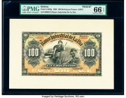 Bolivia Banco Industrial de La Paz 100 Bolivianos 1.6.1900 Pick S156fp; S156bp Front and Back Proofs PMG Gem Uncirculated 66 EPQ; Choice Uncirculated ...