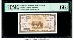Burundi Banque du Royaume du Burundi 10 Francs 20.11.1964 Pick 9 PMG Gem Uncirculated 66 EPQ.   HID09801242017  © 2020 Heritage Auctions | All Rights ...
