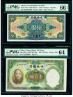 China Central Bank of China 10 Dollars; 100 Yuan 1928; 1936 Pick 197e; 220a Two Examples PMG Gem Uncirculated 66 EPQ; Choice Uncirculated 64   HID0980...
