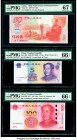 China People's Bank of China 50; 5; 100 Yuan 1999; 1999 (ND 2002); 2015 Pick 891; 897; 909 Three Examples PMG Superb Gem Unc 67 EPQ; Gem Uncirculated ...
