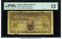 Ethiopia Bank of Ethiopia 5 Thalers 1932-33 Pick 7 PMG Fine 12. Stained.  HID09801242017  © 2020 Heritage Auctions | All Rights Reserved