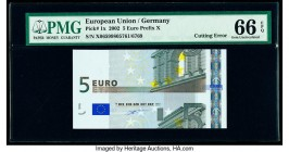 Cutting Error European Union Central Bank, Germany 5 Euro 2002 Pick 1x PMG Gem Uncirculated 66 EPQ.   HID09801242017  © 2020 Heritage Auctions | All R...