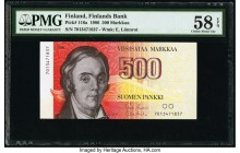 Finland Finlands Bank 500 Markkaa 1986 Pick 116a PMG Choice About Unc 58 EPQ.   HID09801242017  © 2020 Heritage Auctions | All Rights Reserved