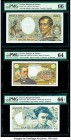 France Banque de France 5; 50; 200 Francs 7.12.1967; 1987; 1981-86 Pick 146b; 152c; 155a Three Examples PMG Choice Uncirculated 64; Gem Uncirculated 6...