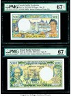 French Pacific Territories Institut d'Emission d'Outre Mer 500; 5000 Francs ND (1992); ND (1996) Pick 1e; 3g Two Examples PMG Superb Gem Unc 67 EPQ (2...